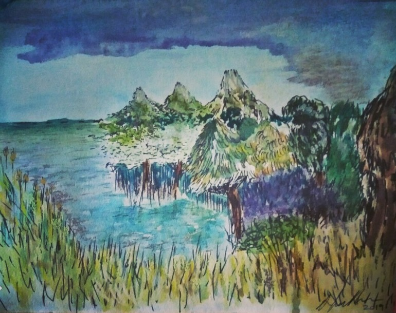 A pen and ink sketch of landscape with watercolour pencils